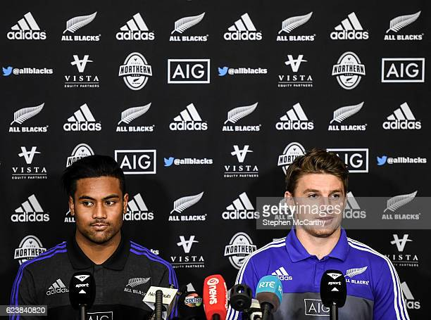 Dublin Ireland 17 November 2016 Beauden Barrett right and Julian Savea of New Zealand during a press conference at Castleknock Hotel Country Club in...
