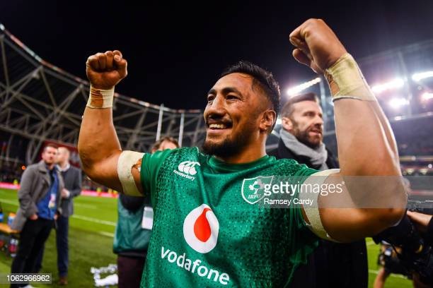 Dublin Ireland 17 November 2018 Bundee Aki of Ireland celebrates following his side's victory in the Guinness Series International match between...