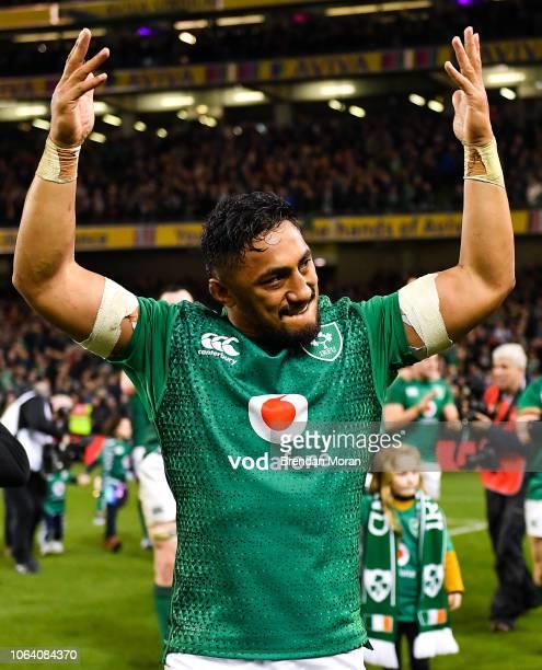 Dublin Ireland 17 November 2018 Bundee Aki of Ireland celebrates after the Guinness Series International match between Ireland and New Zealand at...