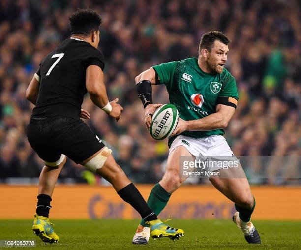 Dublin , Ireland - 17 November 2018; Cian Healy of Ireland in action against Ardie Savea of New Zealand during the Guinness Series International...