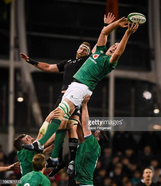 Dublin Ireland 17 November 2018 Devin Toner of Ireland wins possession from a lineout ahead of Kieran Read of New Zealand during the Guinness Series...