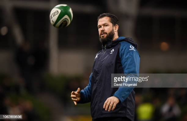 Dublin Ireland 17 November 2018 Ireland defence coach Andy Farrell prior to the Guinness Series International match between Ireland and New Zealand...