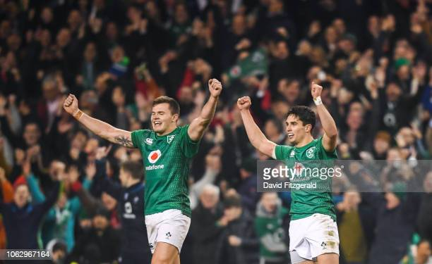 Dublin Ireland 17 November 2018 Jacob Stockdale left and Joey Carbery of Ireland celebrate at the final whistle following the Guinness Series...