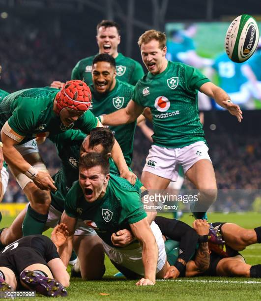 Dublin Ireland 17 November 2018 Jacob Stockdale of Ireland celebrates after scoring his side's first try during the Guinness Series International...