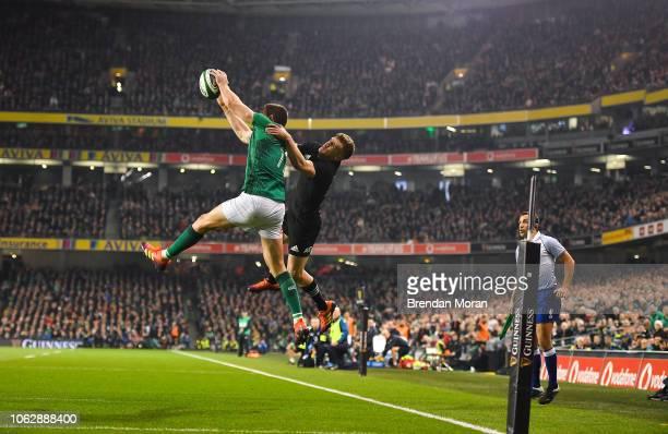 Dublin Ireland 17 November 2018 Jacob Stockdale of Ireland in action against Damian McKenzie of New Zealand during the Guinness Series International...