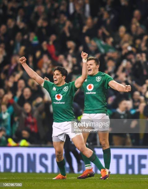 Dublin Ireland 17 November 2018 Joey Carberry left and Jacob Stockdale of Ireland celebrate at the final whistle following the Guinness Series...