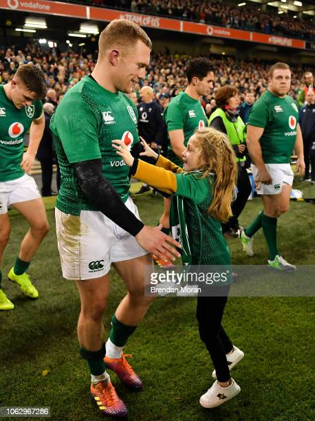 Dublin Ireland 17 November 2018 Keith Earls of Ireland celebrates with his daughter Ella May following the Guinness Series International match...