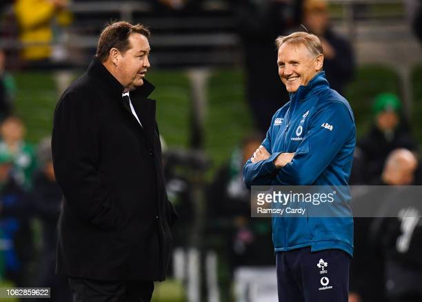 Dublin Ireland 17 November 2018 New Zealand head coach Steve Hansen left and Ireland head coach Joe Schmidt ahead of the Guinness Series...