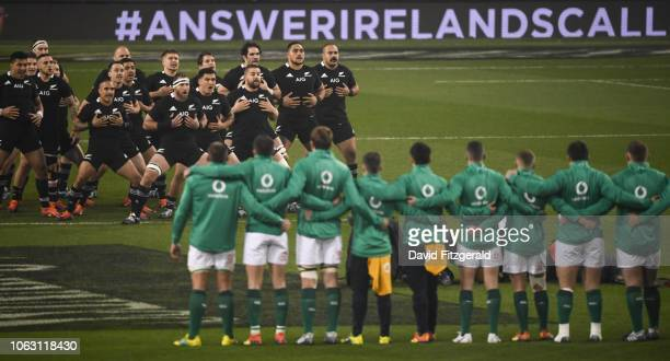 Dublin Ireland 17 November 2018 New Zealand players perform the haka prior to the Guinness Series International match between Ireland and New Zealand...