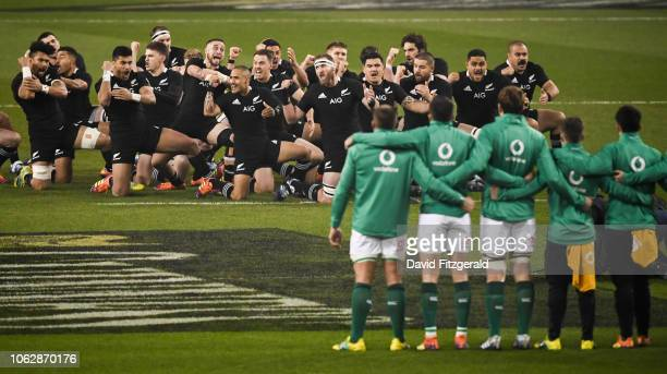 Dublin Ireland 17 November 2018 The haka is performed by New Zealand's All Blacks led by captain Kieran Read prior to the Guinness Series...