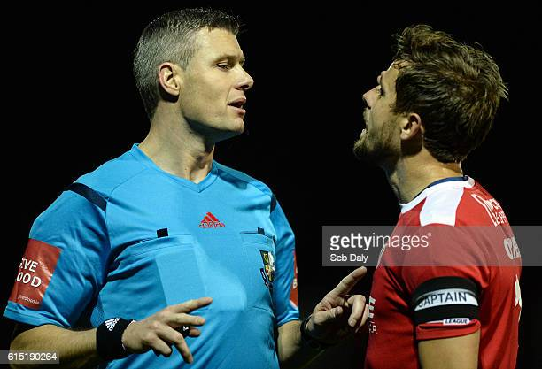 Dublin Ireland 17 October 2016 Referee Ben Connolly talks to Cork City captain John Kavanagh during the SSE Airtricity League Premier Division game...
