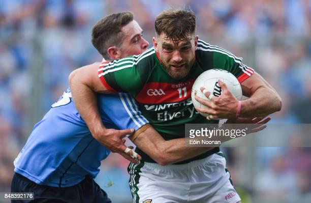 Dublin Ireland 17 September 2017 Aidan O'Shea of Mayo in action against Brian Fenton of Dublin during the GAA Football AllIreland Senior Championship...