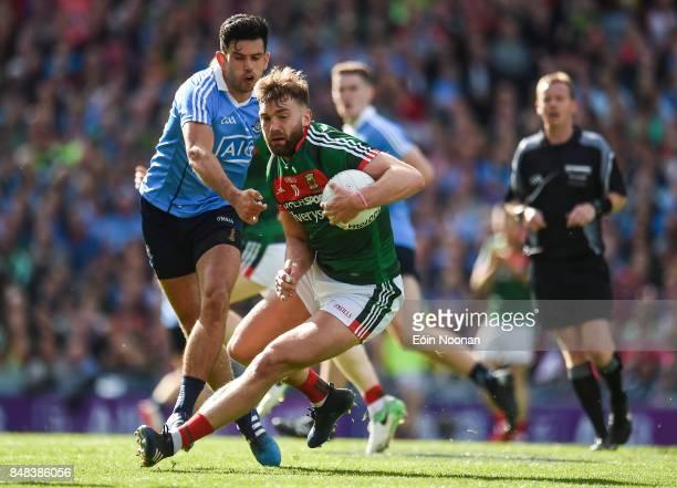 Dublin Ireland 17 September 2017 Aidan O'Shea of Mayo in action against Cian O'Sullivan of Dublin during the GAA Football AllIreland Senior...