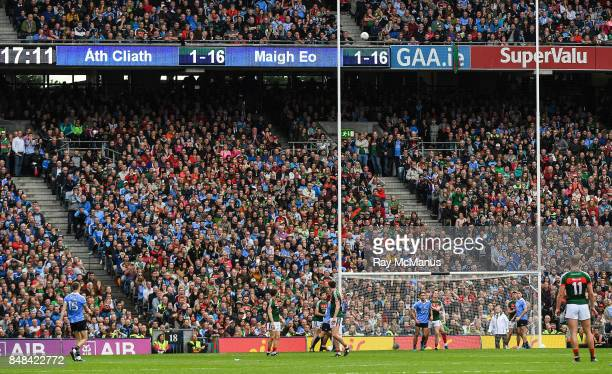 Dublin Ireland 17 September 2017 Dean Rock of Dublin kicks the winning point during the GAA Football AllIreland Senior Championship Final match...