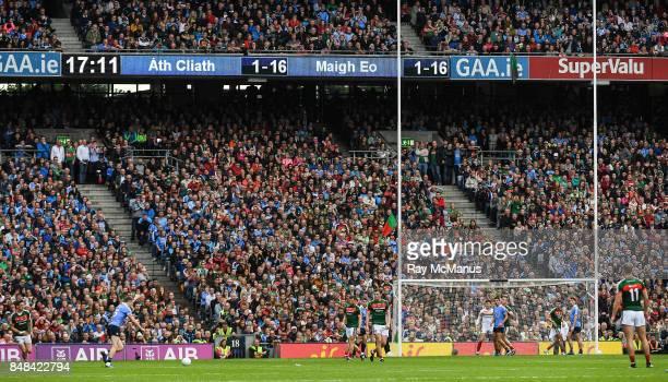 Dublin Ireland 17 September 2017 Dean Rock of Dublin kicks the winning point during the GAA Football AllIreland Senior Championship Final match...