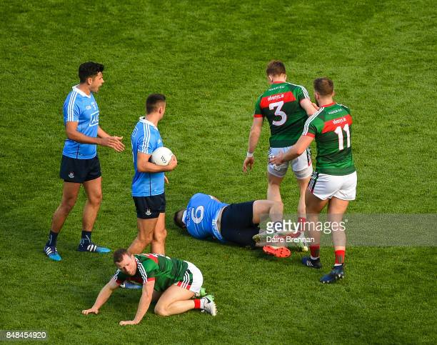 Dublin Ireland 17 September 2017 Donal Vaughan of Mayo strikes John Small of Dublin which resulted in Vaughan getting a red card during the GAA...