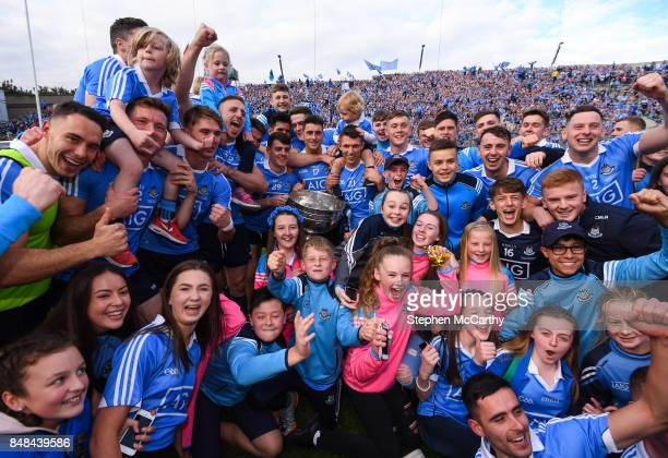 Dublin Ireland 17 September 2017 Dublin players and their family members celebrate with the cup after the GAA Football AllIreland Senior Championship...