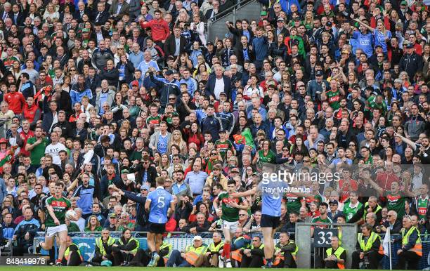 Dublin Ireland 17 September 2017 Dublin supporters in the Hogan Stand react as a line ball goes against their team during the GAA Football AllIreland...