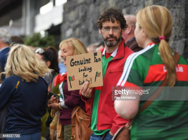 Dublin Ireland 17 September 2017 Mayo supporter Adriam Needham from Achill Island in search of a ticket before the GAA Football AllIreland Senior...