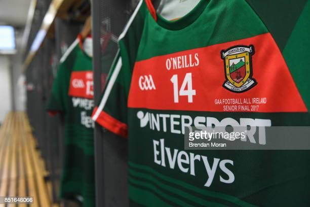 Dublin Ireland 17 September 2017 The jersey of Mayo captain Cillian O'Connor hangs in the Mayo dressingroom prior to the GAA Football AllIreland...