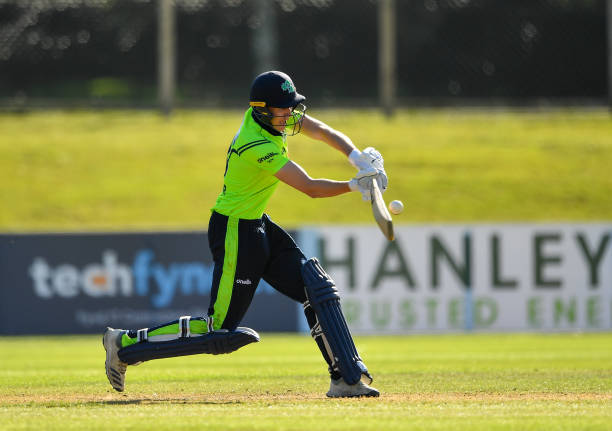 Dublin Ireland 17 September 2019 Harry Tector of Ireland plays a shot during the T20 International Tri Series match between Ireland and Scotland at...