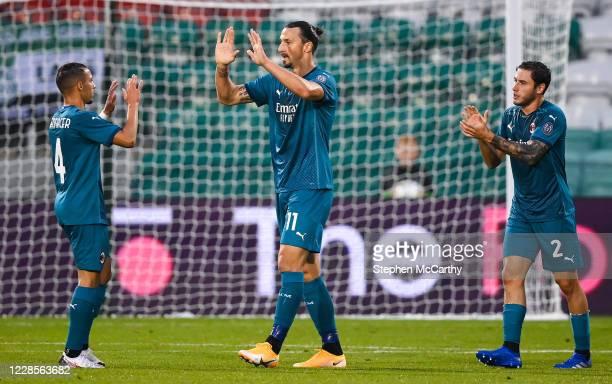 Dublin , Ireland - 17 September 2020; Zlatan Ibrahimovi of AC Milan celebrates after scoring his side's first goal with team-mates Ismaël Bennacer,...