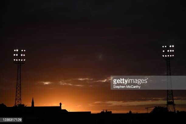 Dublin , Ireland - 17 September 2021; A general view of the floodlights of Dalymount Park before the extra.ie FAI Cup Quarter-Final match between...