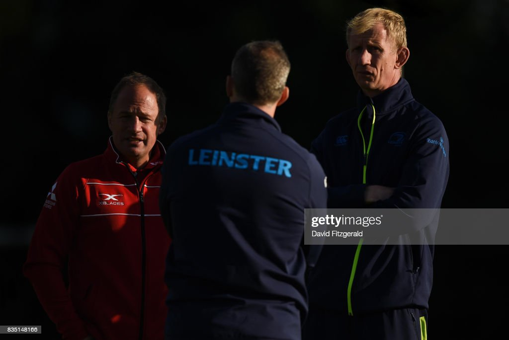 Dublin , Ireland - 18 August 2017; Gloucester Director of Rugby David Humphreys, left, speaks with Leinster Forwards Coach Simon Easterby, centre, and Leinster head coach Leo Cullen ahead of the Bank of Ireland Pre-season Friendly match between Leinster and Gloucester at St Mary's RFC in Dublin.