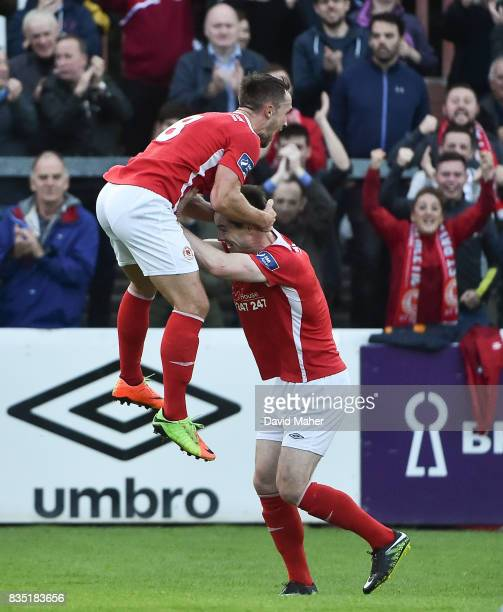 Dublin , Ireland - 18 August 2017, Graham Kelly, left, of St Patrick's Athletic celebrates after scoring his side's first goal with team-mate Michael...