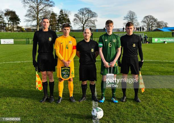 Dublin Ireland 18 January 2020 Referee Daryl Carolan centre with captains Cathal Heffernan of Republic of Ireland and Aidan Croucher of Australia and...