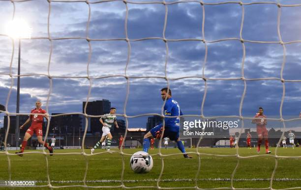 Dublin Ireland 18 July 2019 Gary O'Neill of Shamrock Rovers scores his side's second goal of the game during the UEFA Europa League First Qualifying...