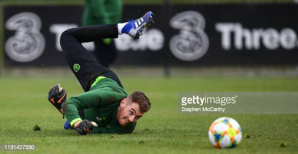 Dublin Ireland 18 March 2019 Mark Travers during a Republic of Ireland training session at the FAI National Training Centre in Abbotstown Dublin
