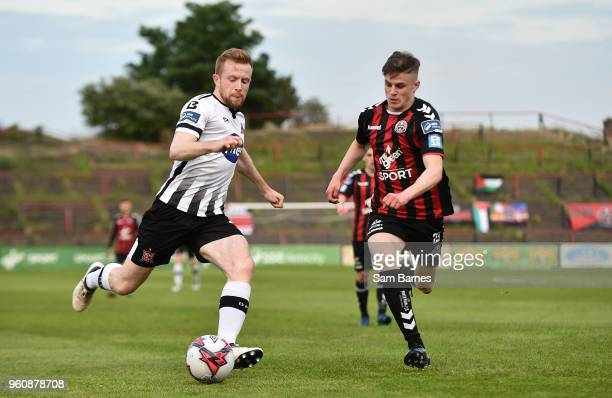 Dublin Ireland 18 May 2018 Seán Hoare of Dundalk in action against Patrick Kirk of Bohemians during the SSE Airtricity League Premier Division match...