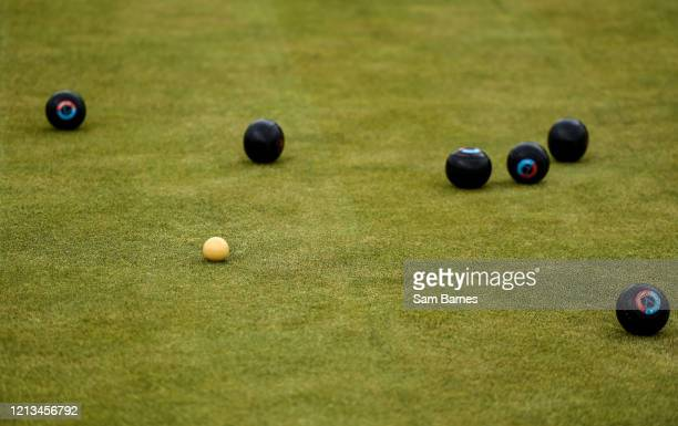 Dublin , Ireland - 18 May 2020; A general view of Lawn Bowls around the Jack at Clontarf Bowling Club in Dublin as it resumes having previously...