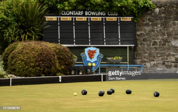 Dublin , Ireland - 18 May 2020; Club members participate in lawn bowling at Clontarf Bowling Club in Dublin as it resumes having previously suspended...