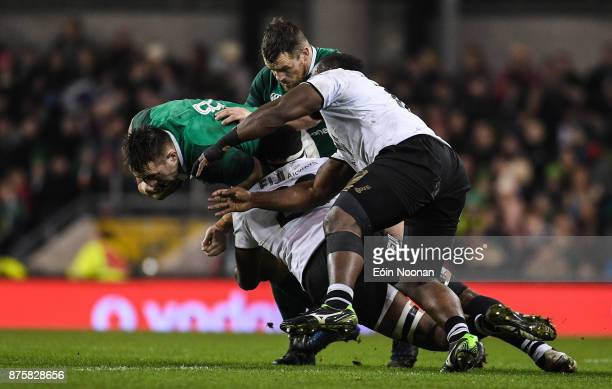 Dublin Ireland 18 November 2017 Jack Conan of Ireland is tackled by Semi Kunatani of Fiji during the Guinness Series International match between...
