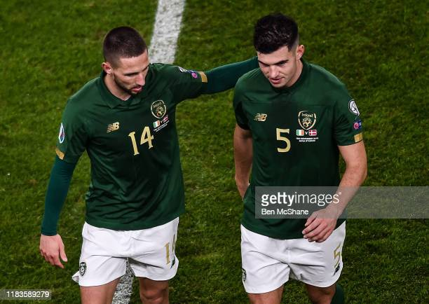 Dublin Ireland 18 November 2019 Conor Hourihane left and John Egan of Republic of Ireland during the UEFA EURO2020 Qualifier Group D match between...