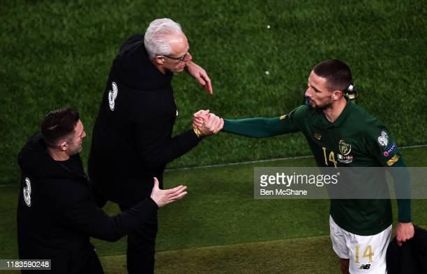 Dublin , Ireland - 18 November 2019; Conor Hourihane of Republic of Ireland with Republic of Ireland manager Mick McCarthy, centre, and assistant...