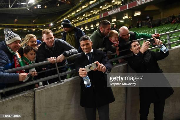 Dublin Ireland 18 November 2019 Former Republic of Ireland Internationals John Walters left Stephen Ward with supporters prior to the UEFA EURO2020...