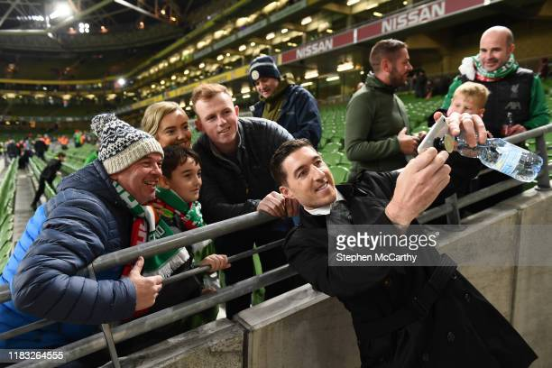 Dublin Ireland 18 November 2019 Former Republic of Ireland International Stephen Ward with supporters prior to the UEFA EURO2020 Qualifier match...