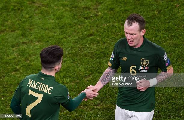 Dublin Ireland 18 November 2019 Glenn Whelan is substituted in for Sean Maguire of Republic of Ireland during the UEFA EURO2020 Qualifier match...
