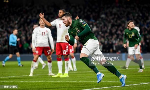 Dublin Ireland 18 November 2019 Matt Doherty of Republic of Ireland after scoring his side's goal during the UEFA EURO2020 Qualifier match between...