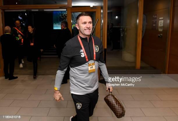Dublin , Ireland - 18 November 2019; Republic of Ireland assistant coach Robbie Keane arrives prior to the UEFA EURO2020 Qualifier match between...