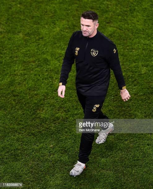 Dublin , Ireland - 18 November 2019; Republic of Ireland assistant coach Robbie Keane ahead of the UEFA EURO2020 Qualifier - Group D match between...