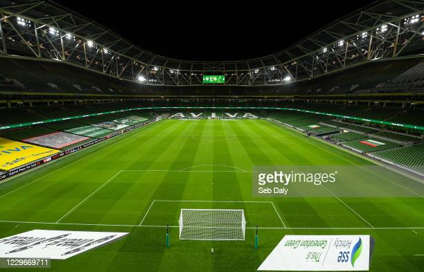 Dublin , Ireland - 18 November 2020; A general view of the Aviva Stadium prior to the UEFA Nations League B match between Republic of Ireland and...