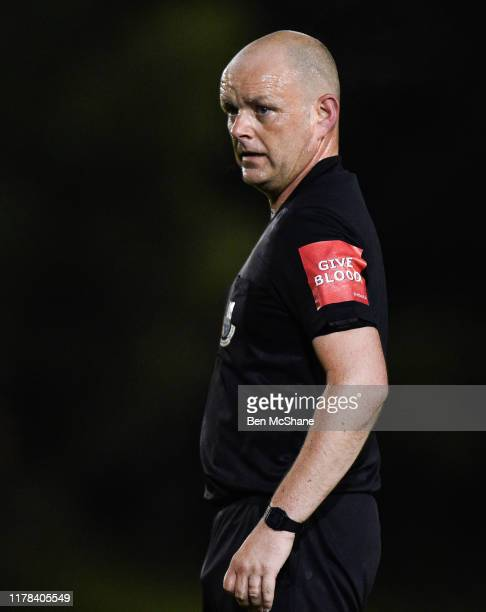 Dublin , Ireland - 18 October 2019; Referee Graham Kelly during the SSE Airtricity League Premier Division match between UCD and Shamrock Rovers at...