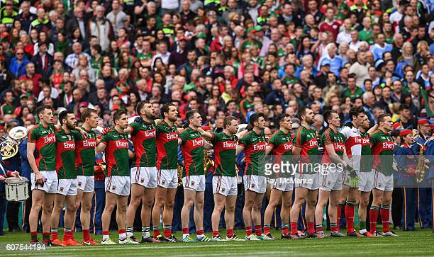 Dublin Ireland 18 September 2016 Members of the Mayo team stand for the National Anthem before the GAA Football AllIreland Senior Championship Final...