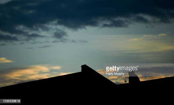Dublin , Ireland - 18 September 2021; A spectator watches on from a nearby flat before the start of the racing at Shelbourne Park in Dublin.