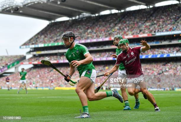 Dublin Ireland 19 August 2018 Darragh O'Donovan of Limerick in action against David Burke of Galway during the GAA Hurling AllIreland Senior...