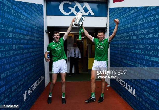 Dublin Ireland 19 August 2018 Diarmuid Byrnes left and Gearóid Hegarty of Limerick celebrate with the Liam MacCarthy Cup after the GAA Hurling...